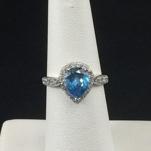 Blue/white cubic zirconia ring, sterling silver